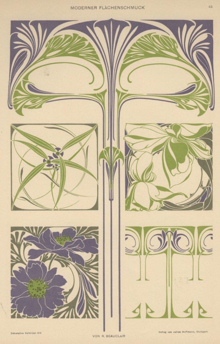 MODERNER FLACHENSCHMUCK art nouveau 1895 lithograph
