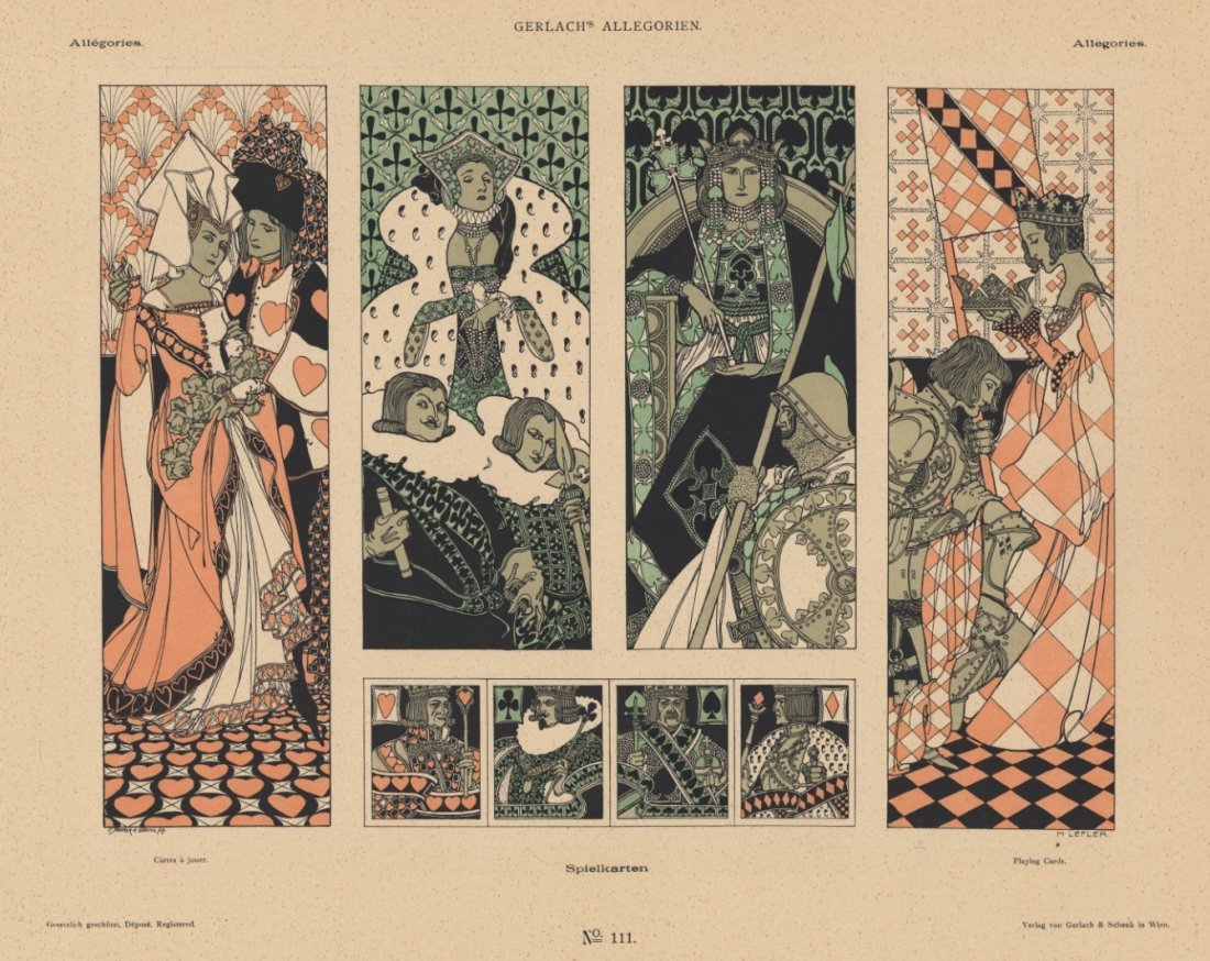 PLAYING CARDS symbolist lithograph 1895