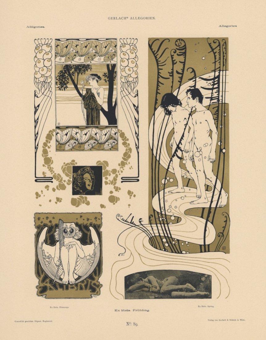 EX LIBRIS. SPRING. Symbolist Moser lithograph 1895-1900