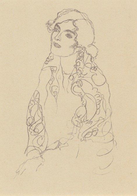 KLIMT 1922 lithograph portrait