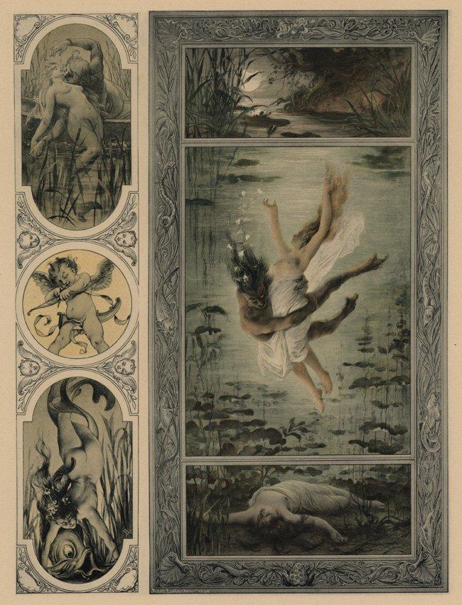 Symbolist lithograph Love Mermaids 1895