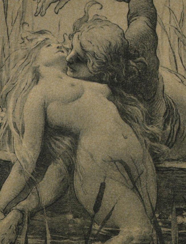 Symbolist lithograph Love Mermaids 1895 - 2