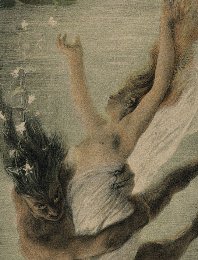 Symbolist lithograph Love Mermaids 1895 - 3