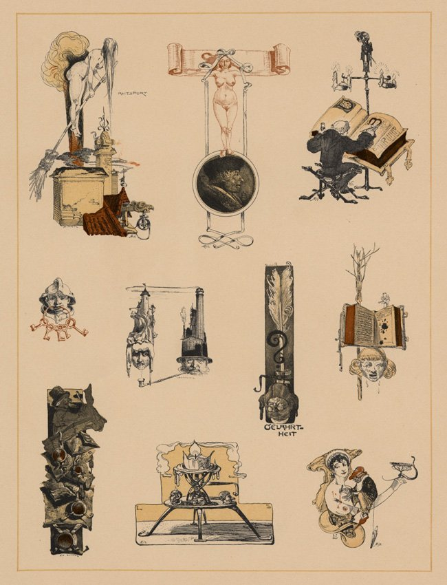 Symbolist lithograph Witches Manuscripts 1895