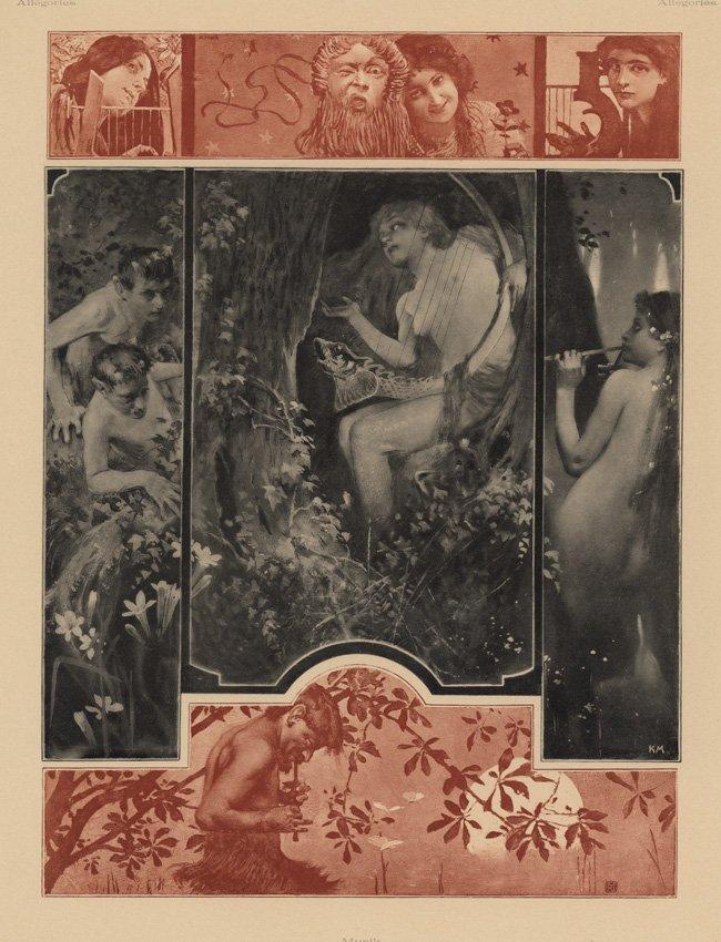 Moser Symbolist lithograph Music 1895