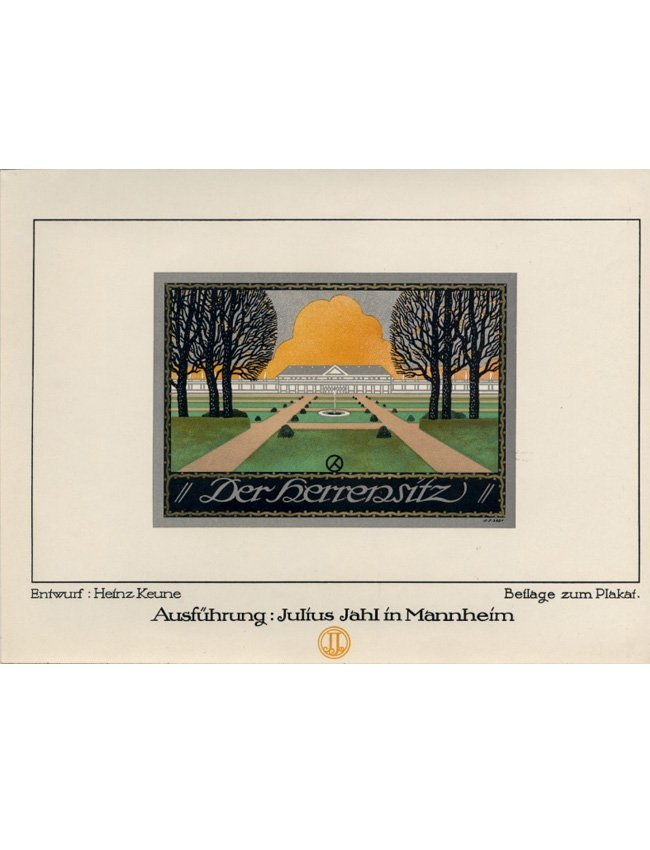 Estate grounds Art Deco lithograph