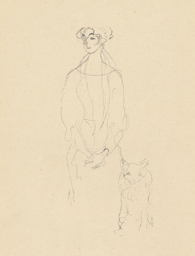 Klimt 1922 lithograph woman with dog