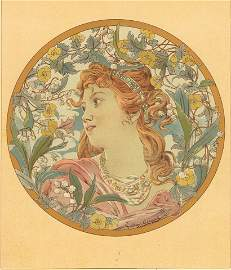 BOUTONS D'OR Art nouveau French antique lithograph