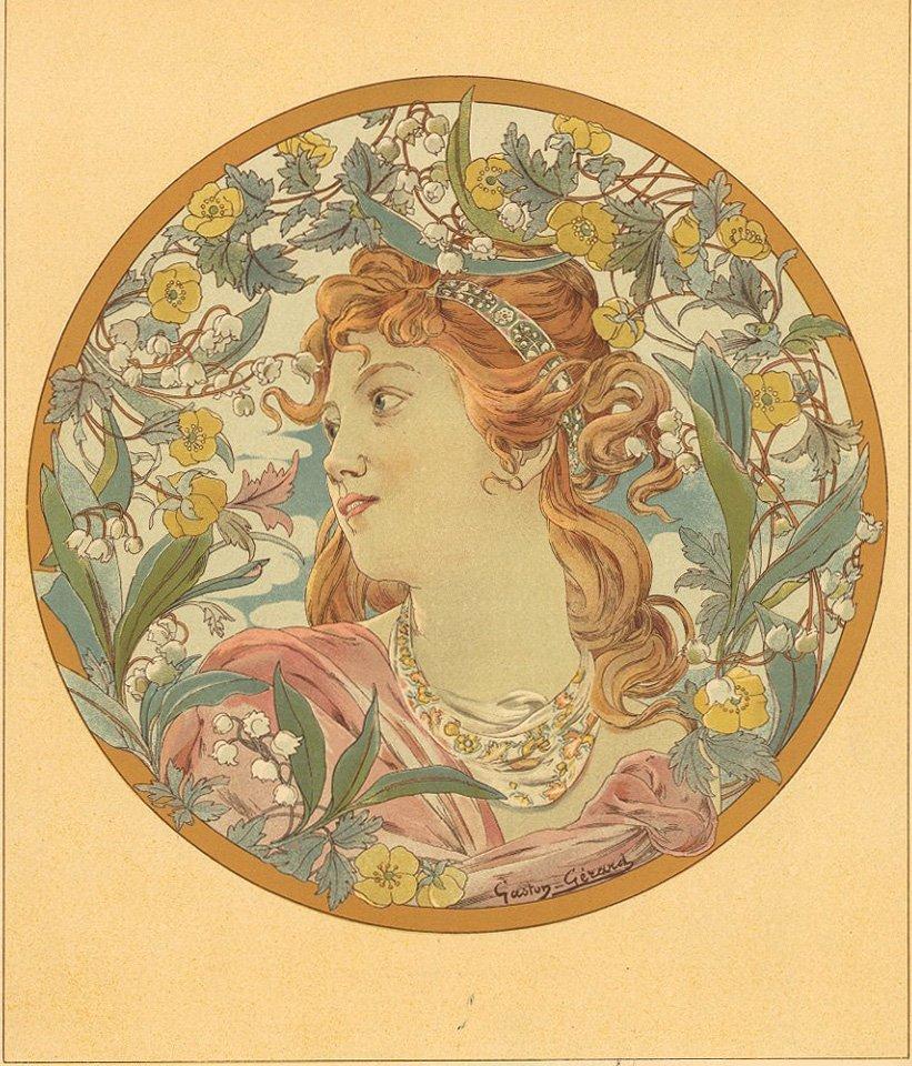 BOUTONS D'OR Art nouveau French antique lithograph