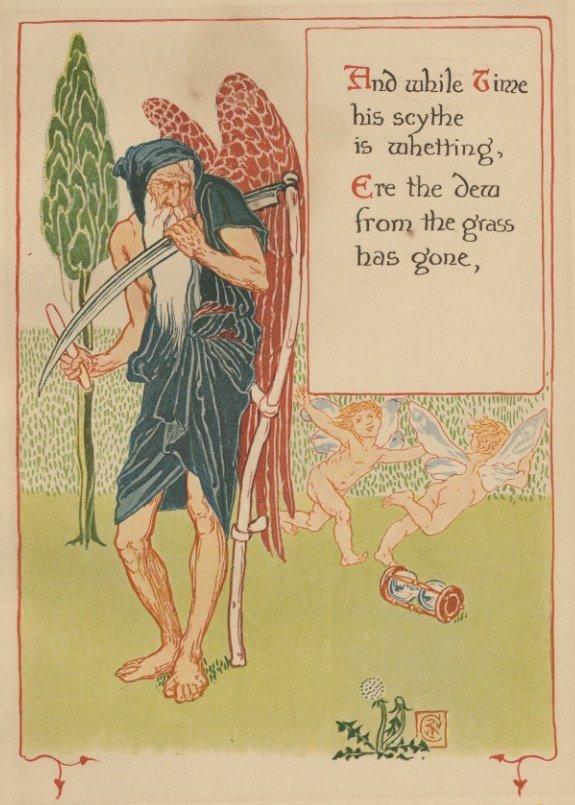 Time scythe Crane garden lithograph 1899