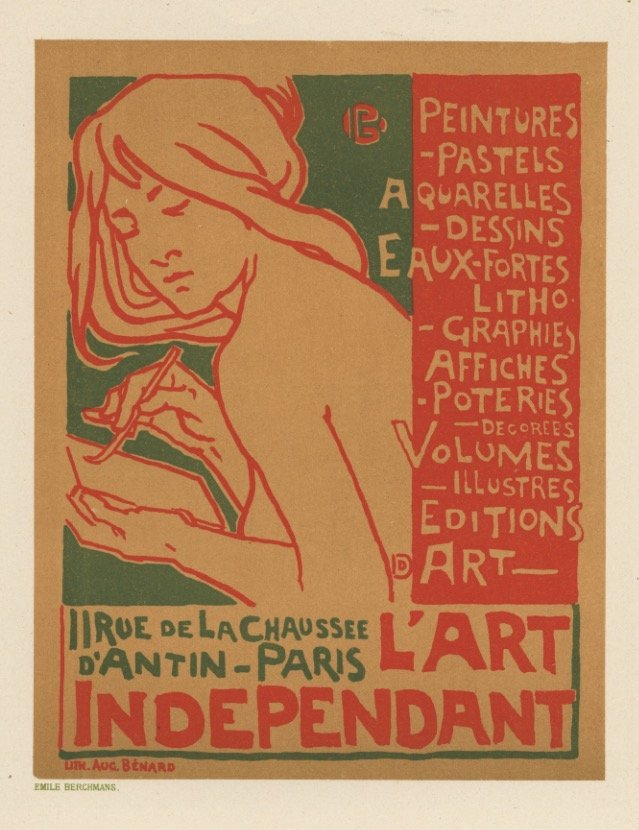 Art Independant Berchmans nouveau lithograph 1897