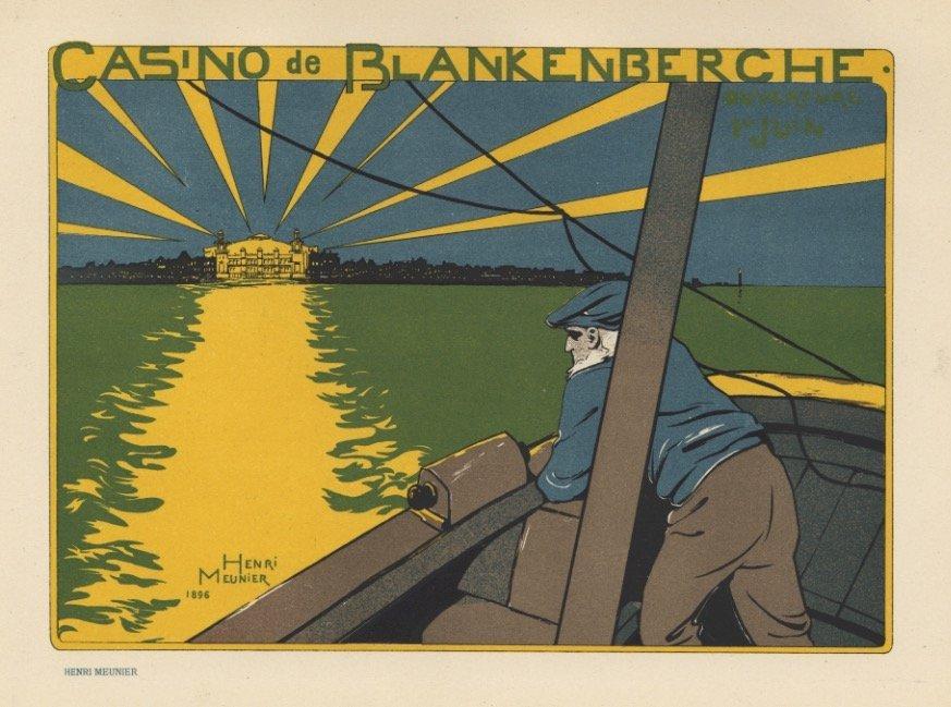 Casino de Blankenberche Meunier lithograph 1897