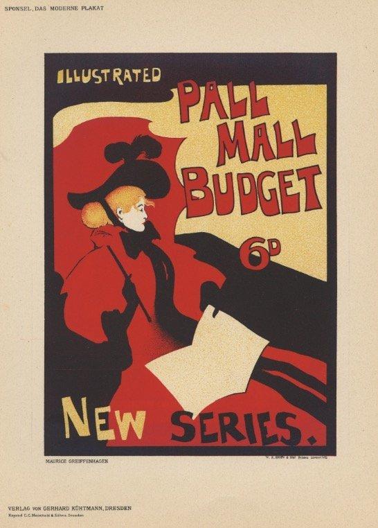 PALL MALL BUDGET pulbishing lithograph