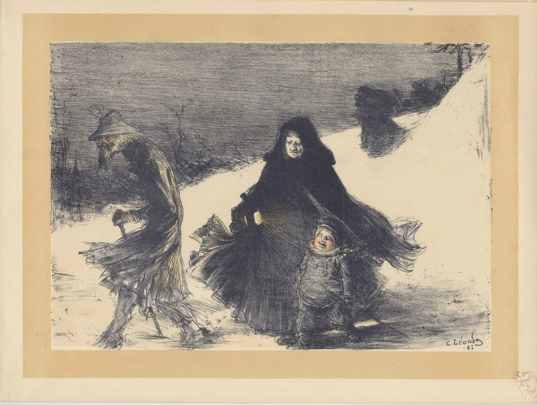 NOEL 1900 lithograph peasants