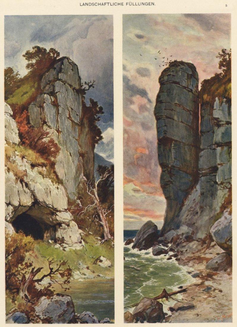 Landschaftliche Fullungen cliffs lithograph 1895