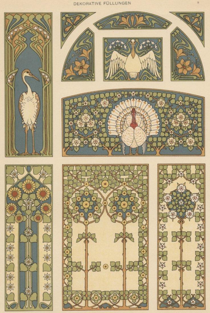 Dekorative Fullunger turkeys lithograph 1895