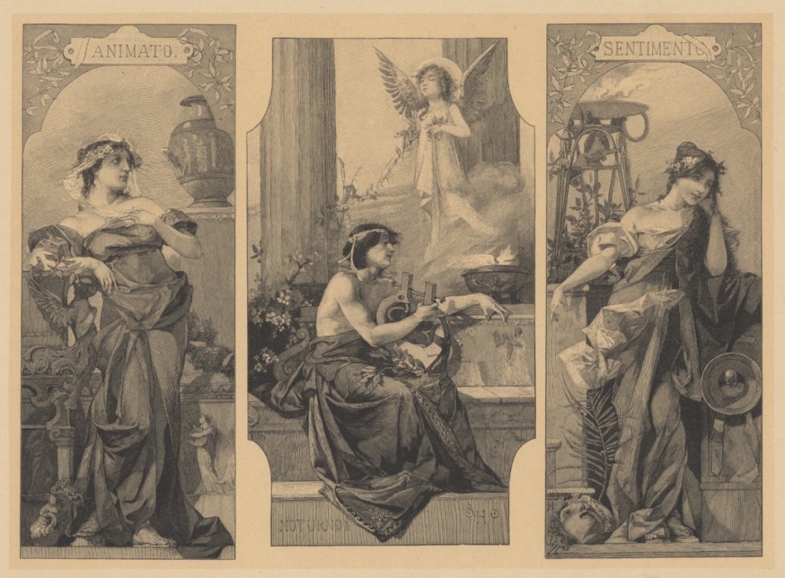 Grecian classical lithograph musical terms 1895