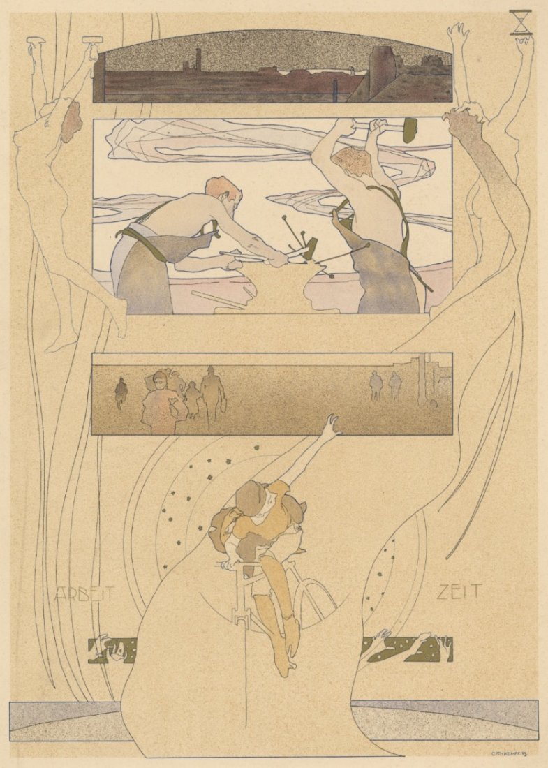 Work-Time symbolist lithograph 1895