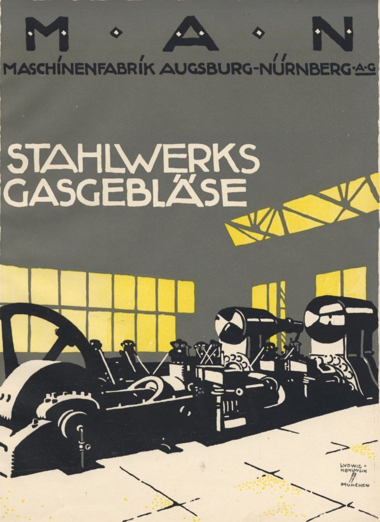Stahlwerks Gasgeblase Hohlwein deco lithograph 1920