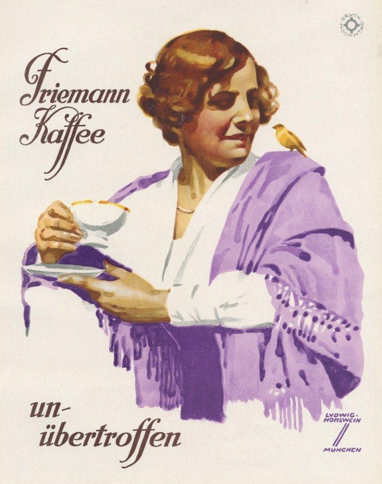 Friemann Kaffee Hohlwein society lithograph 1920