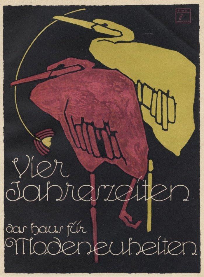 Vier Jahreszeiten Hohlwein birds lithograph 1920