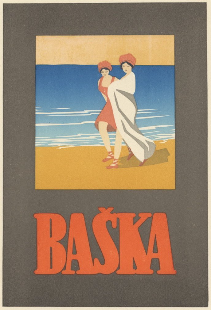 Baska deco beach lithograph 1915