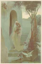L'ENFANT mother child lithograph 1897