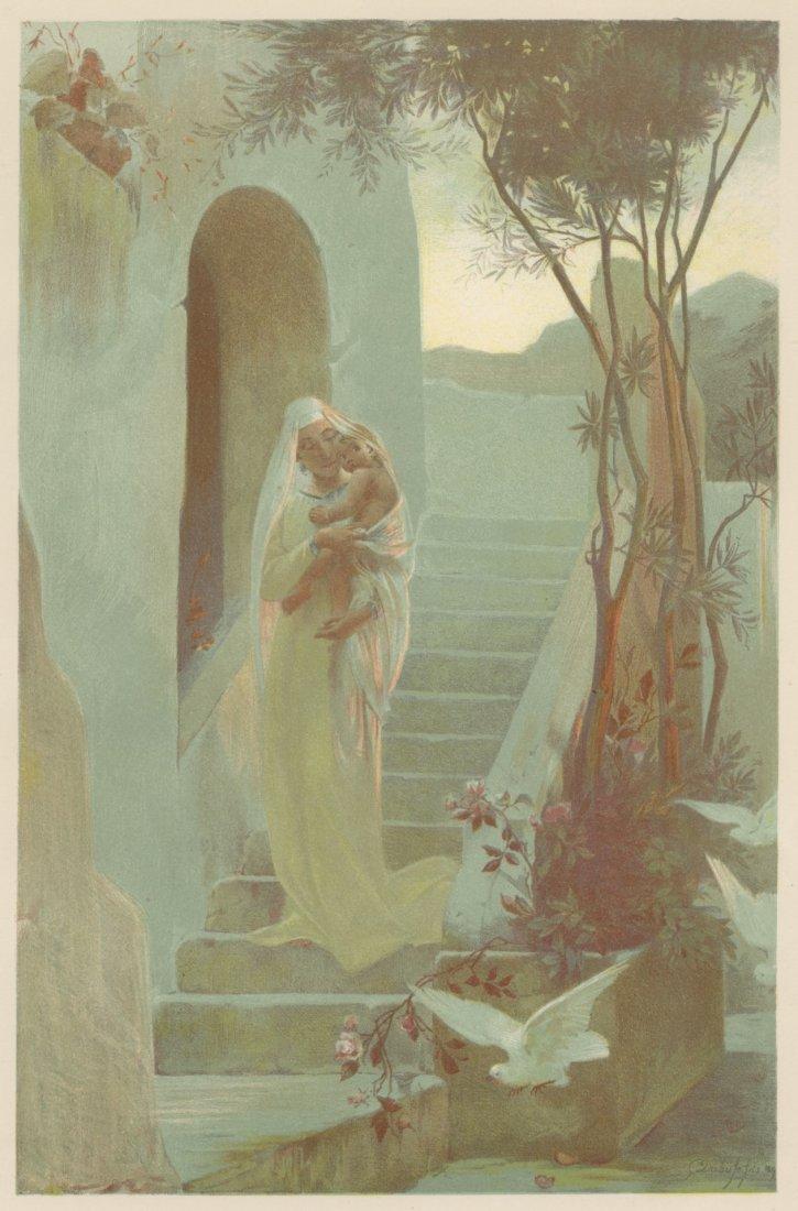 L'ENFANT mother child lithograph 1897