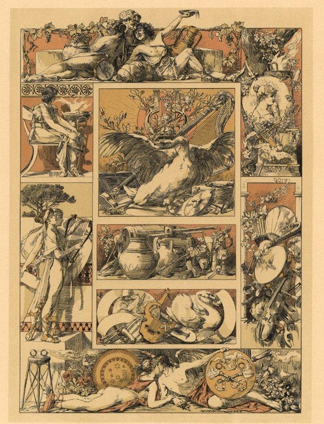 Symbolist lithograph Amusements 1895