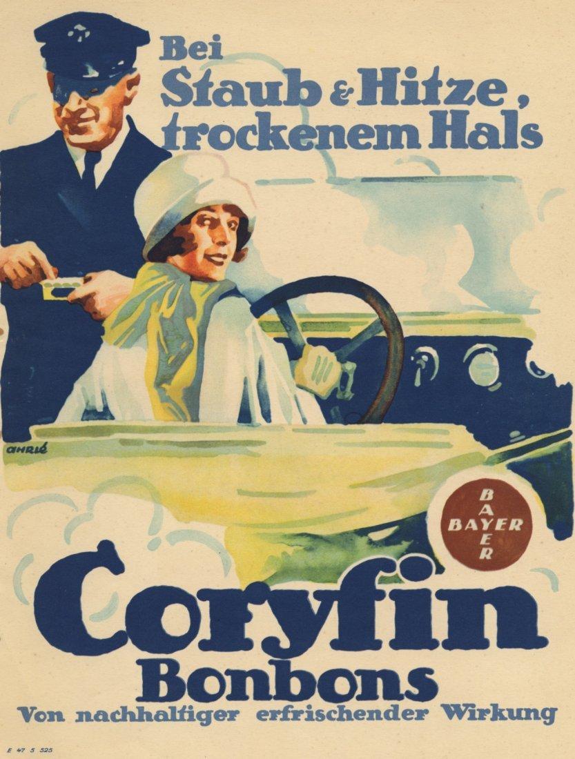 CORYFIN BONBONS German society Bayer lithograph c.1915