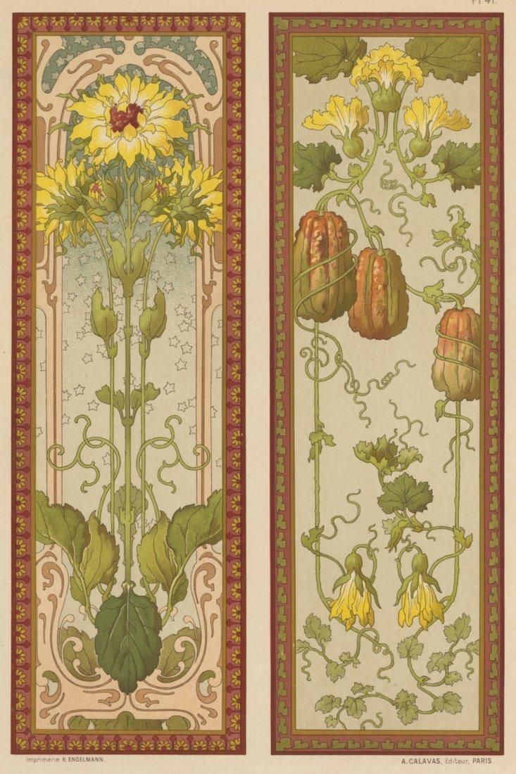 PANNEAUX: SOLEILS/COURGES flowers nouveau lithograph