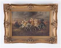 Orientalist Painting of Arabian Horses