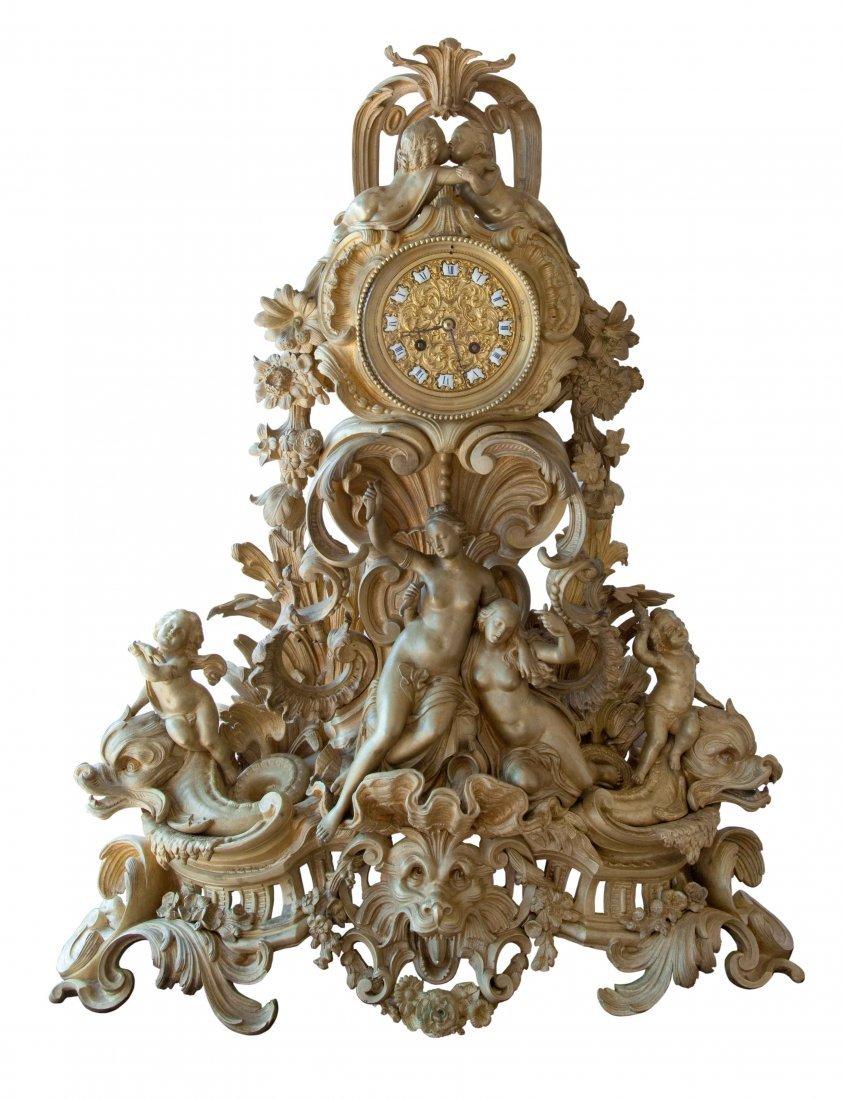 Raulin Paris Rococo-style, Bronze-dore Clock