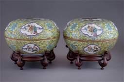 Pair Chinese Porcelain Sweetmeat Bowls