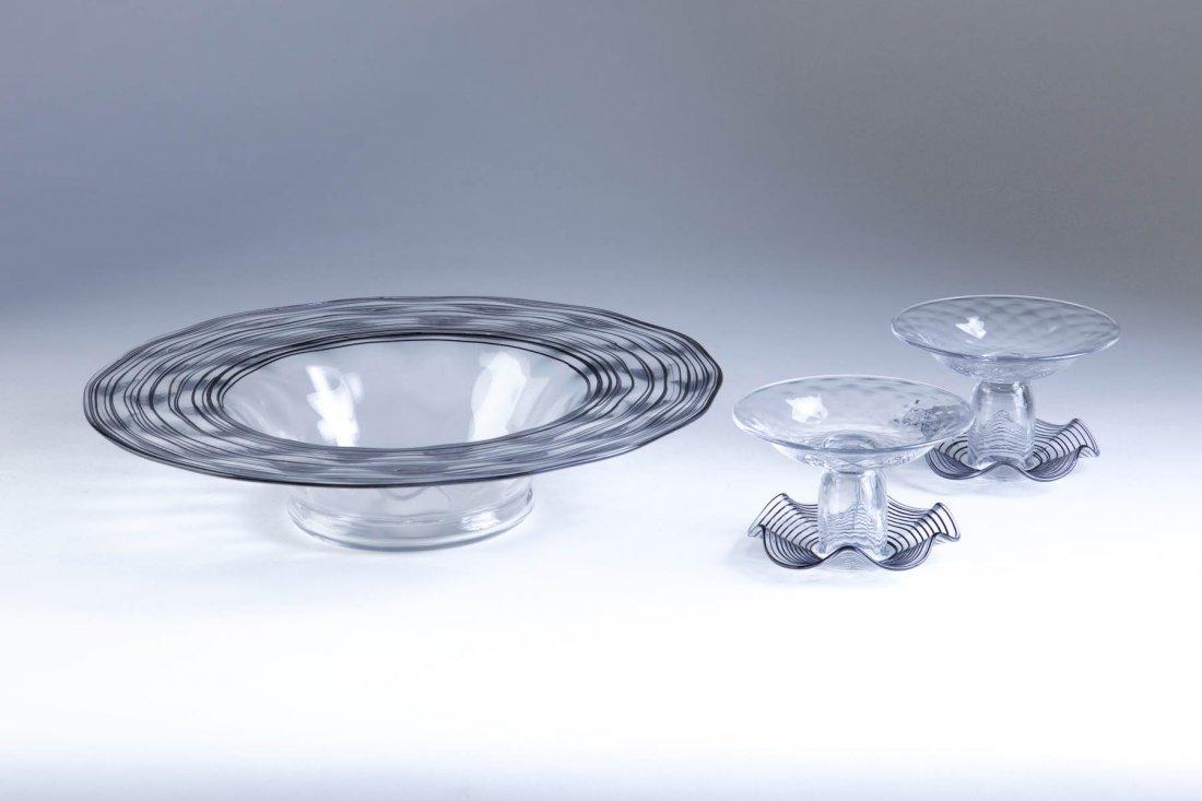 3 Pc. Steuben Glass Bowl & Candlestick Set