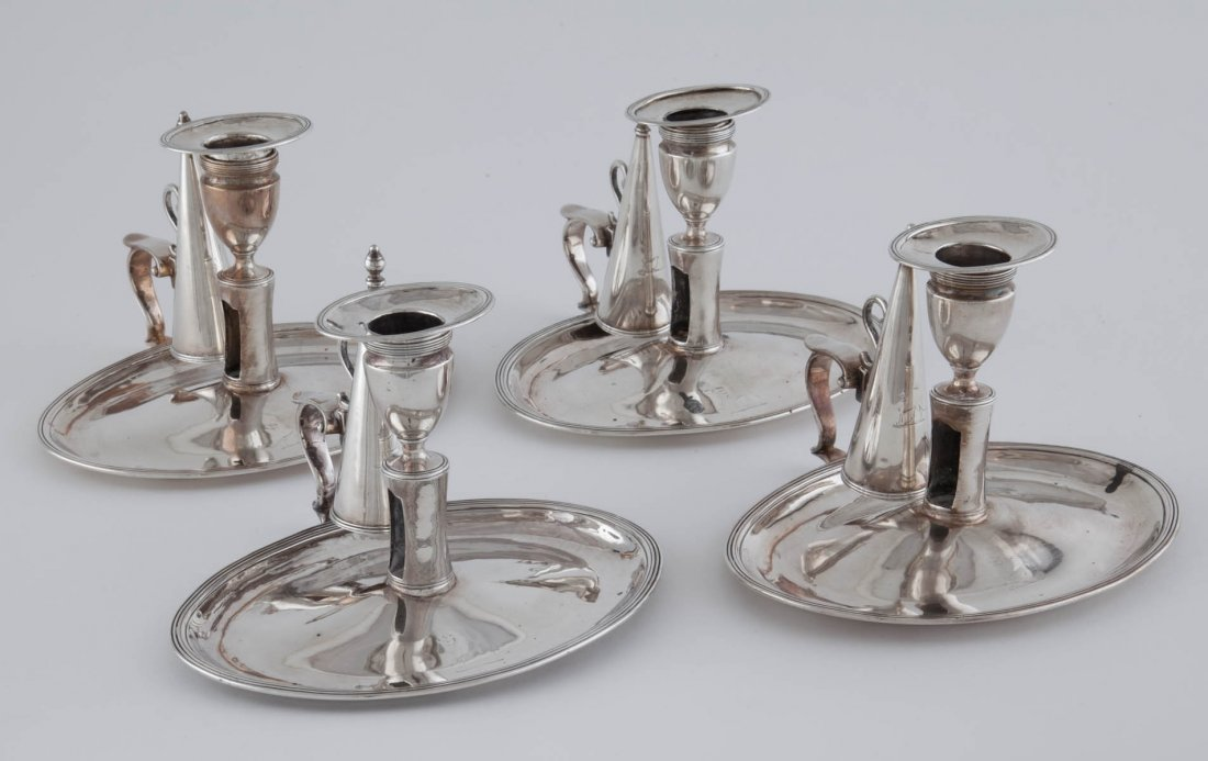 George III Set of 4 Sterling Silver Chamber Sticks