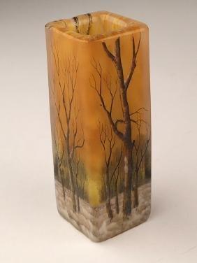 """Minature daum vase of a winter scene. Signed """"Daum"""