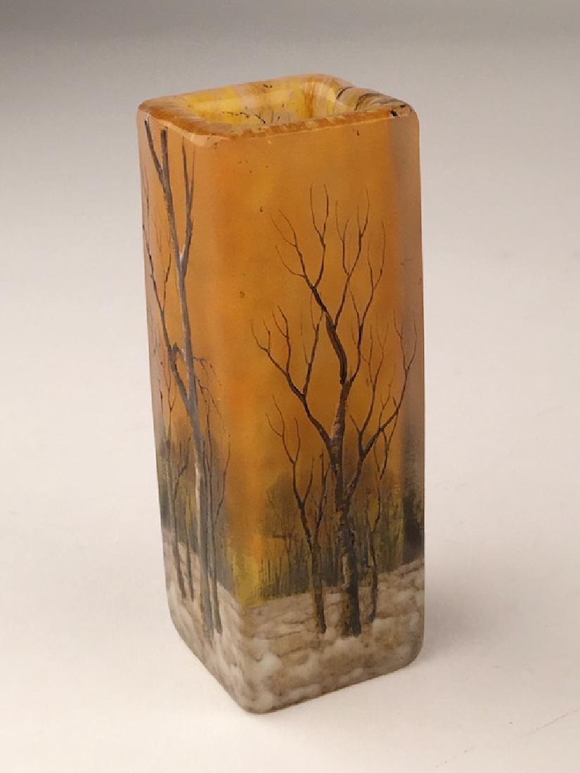 """Minature daum vase of a winter scene. Signed """"Daum - 2"""