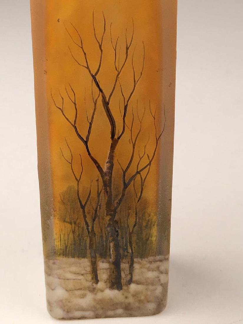 """Minature daum vase of a winter scene. Signed """"Daum - 3"""