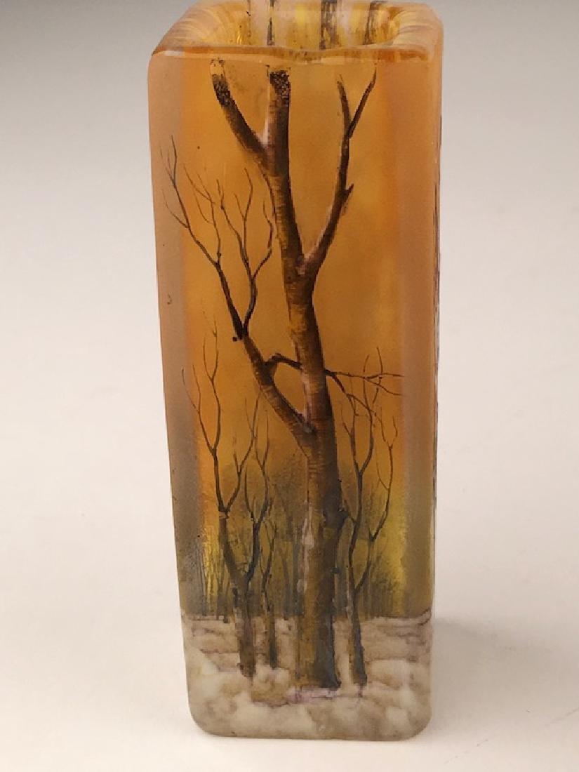 """Minature daum vase of a winter scene. Signed """"Daum - 4"""