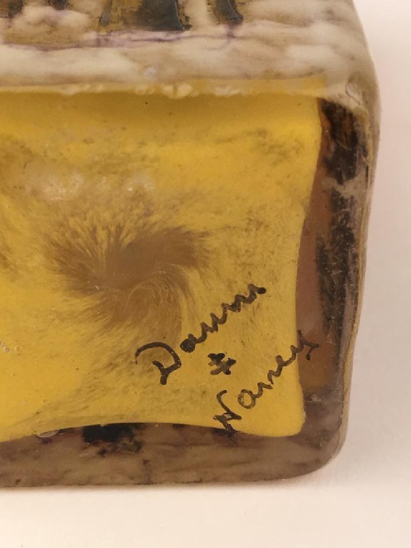 """Minature daum vase of a winter scene. Signed """"Daum - 5"""
