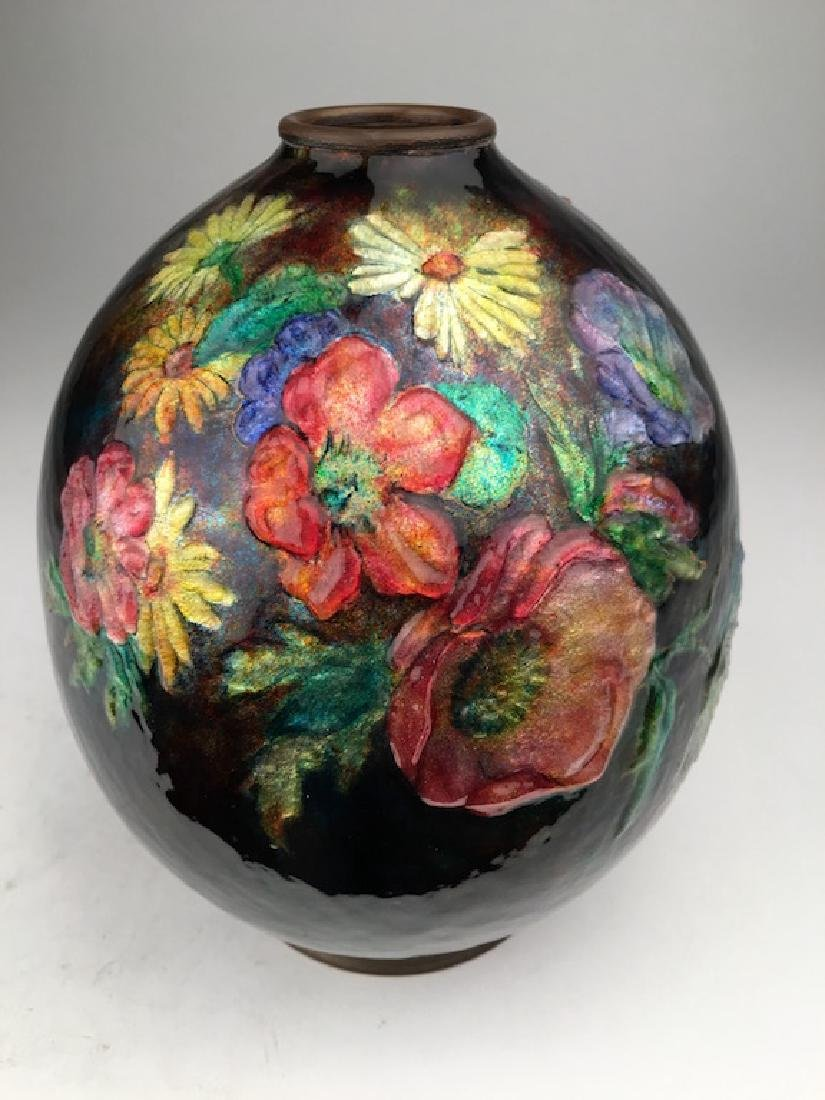 Camille Faure Limoges enamelled vase with flowers all
