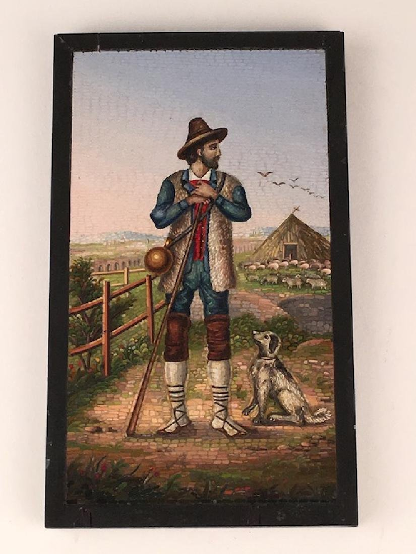 Micro mosiac plaque of a farmer standing with a dog