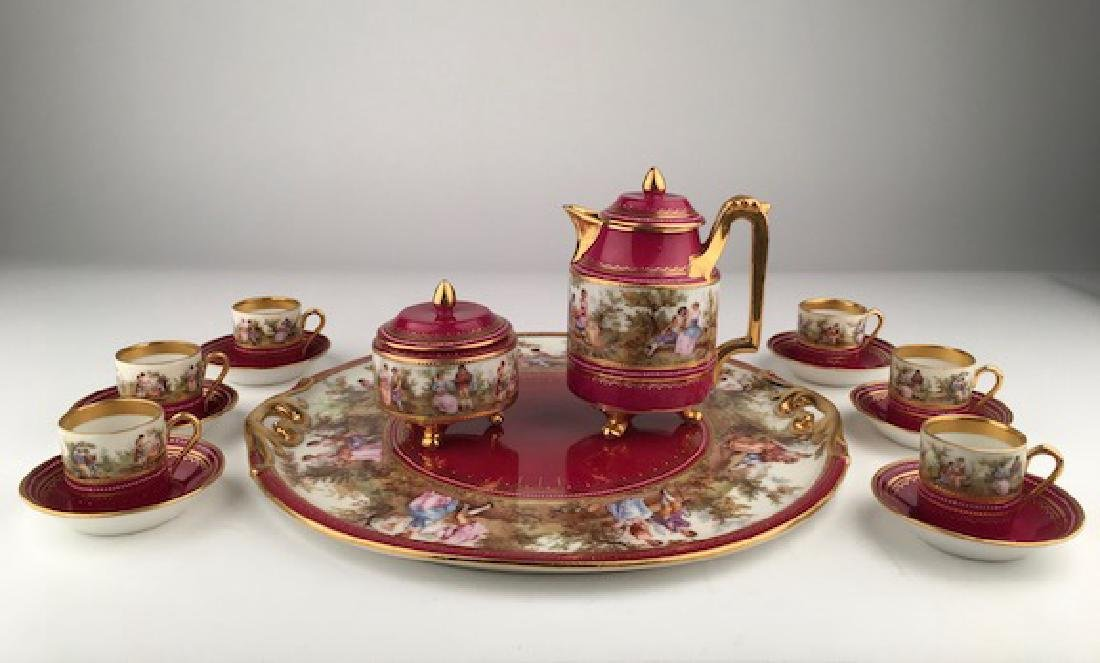 Royal Vienna tea set with covered sugar and creamer13