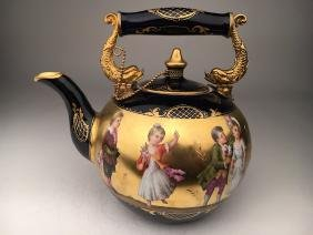 Antique Royal Vienna porcelain tea pot painted with