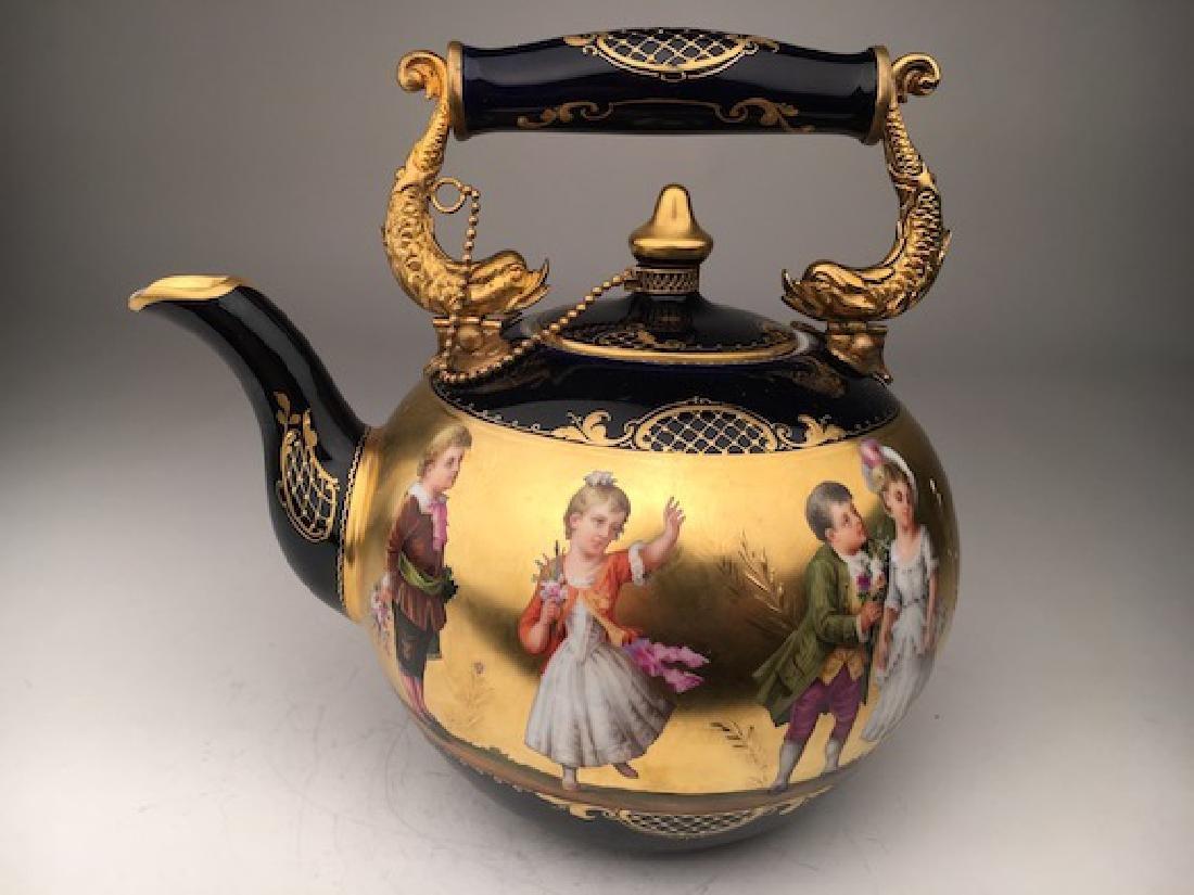 Antique Royal Vienna porcelain tea pot painted with