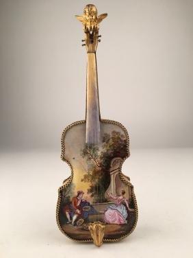 Austrian enamel painted violin music box.
