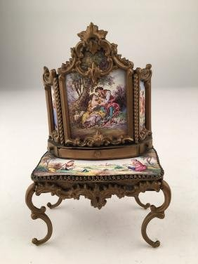 Austrian painted enamel dressing table with slide out