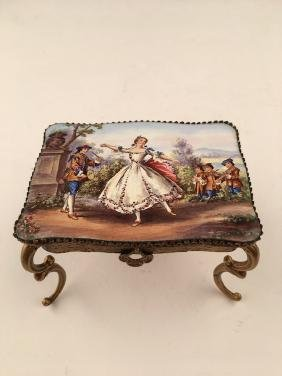 Austrian painted enamel table with slide out drawer.