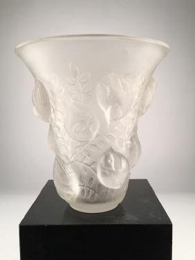 "Lalique ""St. Francois"" vase in clear and frosty glass."